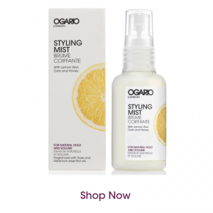 bottle of styling mist for natural hold and volume on white background and shop now text